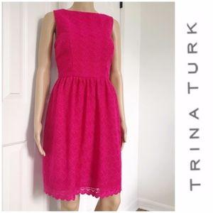 Trina Turk pink lace sleeveless mini Aline dress 6